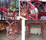 antique 2 wheel firehose cart