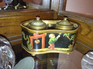 double inkwell in ormolu frame